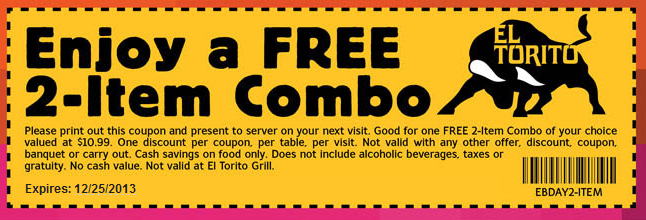 photograph about El Torito Coupons Printable titled El Torito Coupon Printable Discount codes Printable discount coupons
