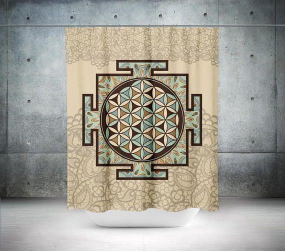 Sri Yantra Shower Curtain,Boho Shower Curtain,Boho Decor,Hippie Shower  Curtain,