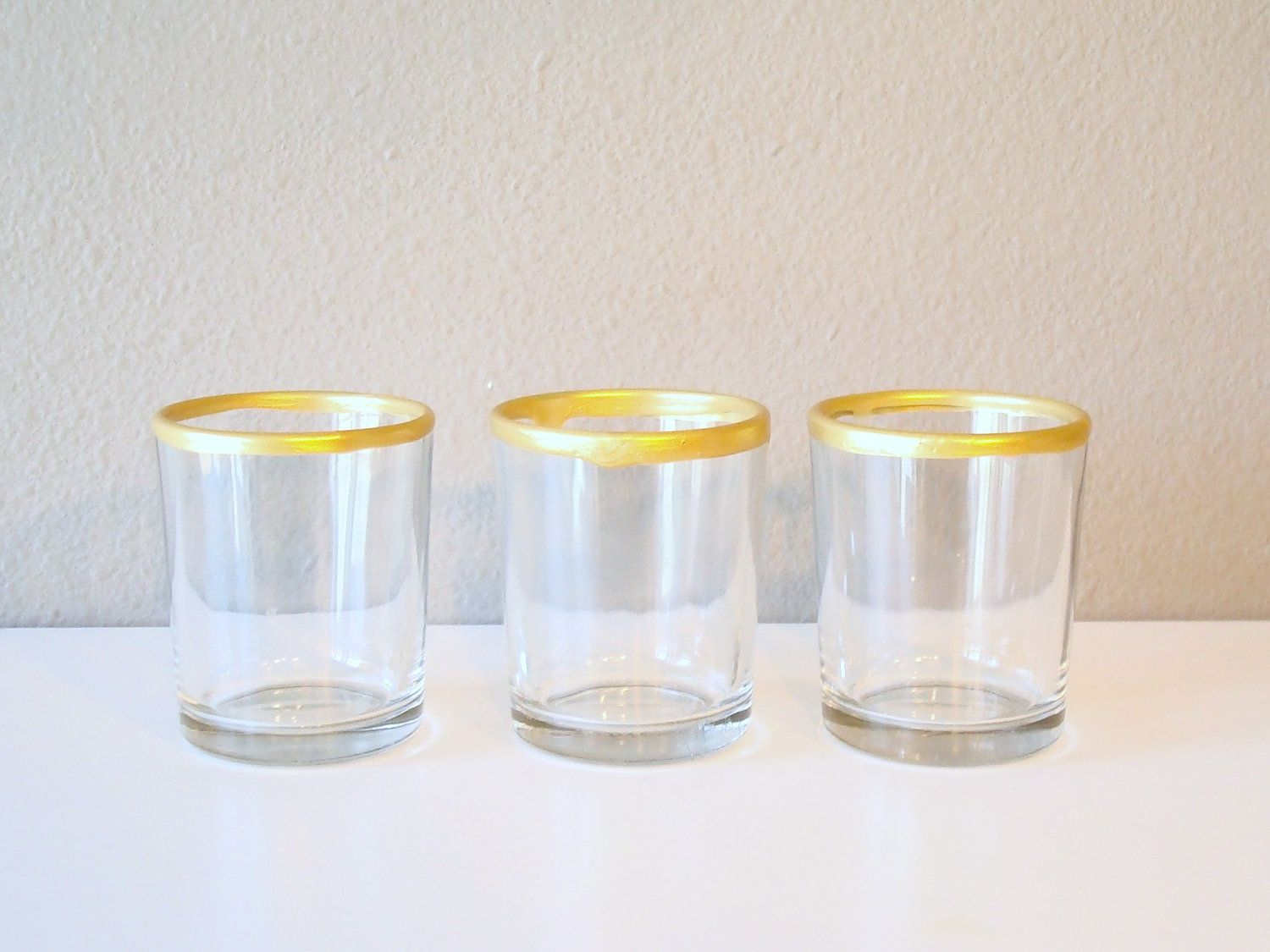 RESERVED: Candle Holder / Gold Dipped / Home Decor / Votive / Glass /  Christmas