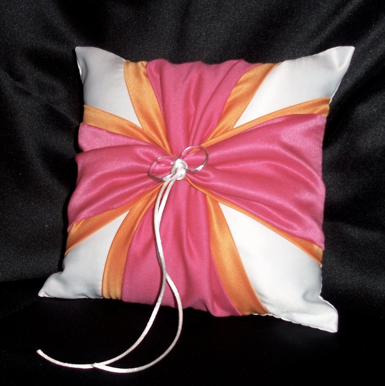 White or Ivory Wedding Ring Bearer Pillow Tangerine Orange Fuchsia ...