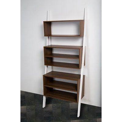 "Mintra Wooden 71"" Leaning Bookcase Finish: Oak/White"