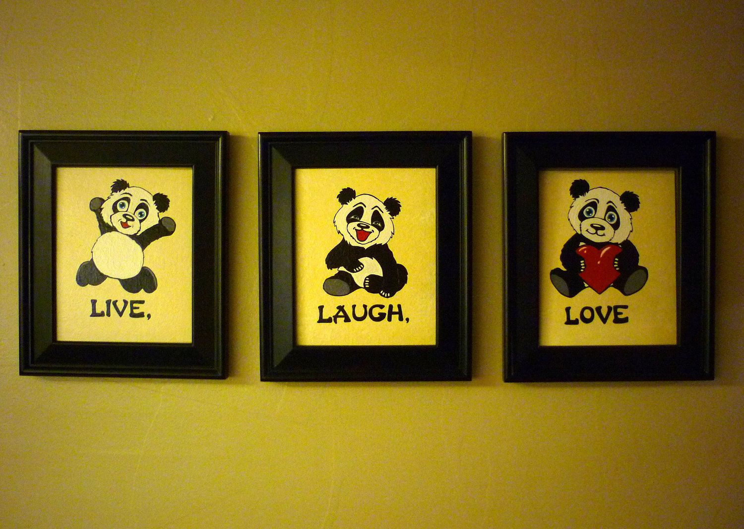 Panda Bear LIVE LAUGH LOVE Handpainted Wall Art 8x10 Set of 3 ...