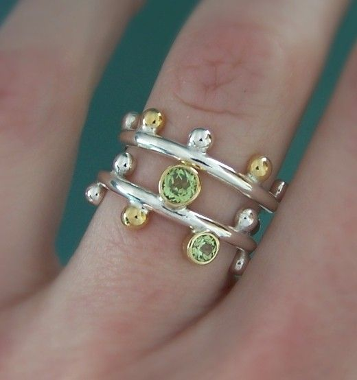 Twig Ring Set with Peridot and 22k Gold by esdesigns on Etsy, $250.00