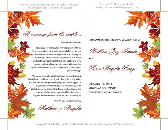 Background Templates For Microsoft Word Amusing Half Fold Wedding Program Template Microsoft Word  Autumn Leaves .