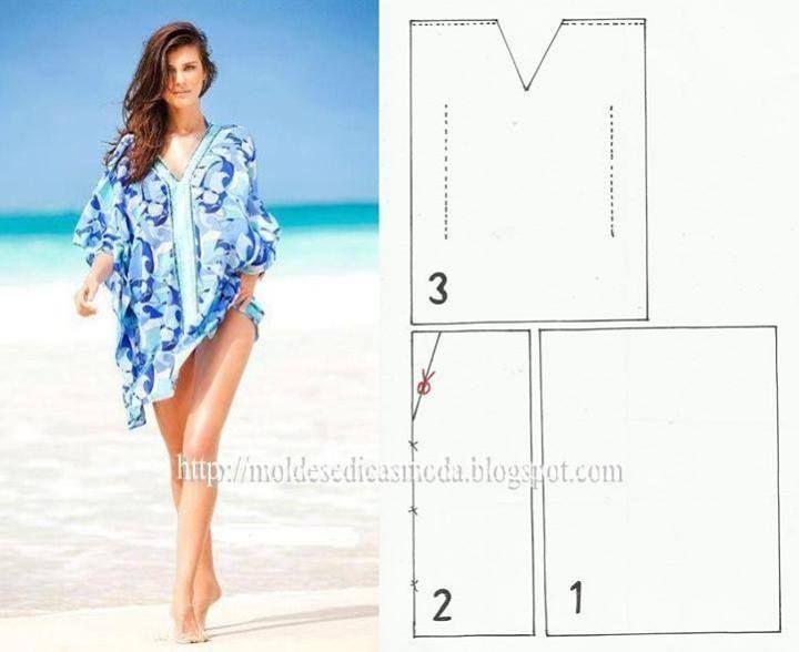 Blusa para la playa patron | Corte, confección y costura | Pinterest ...