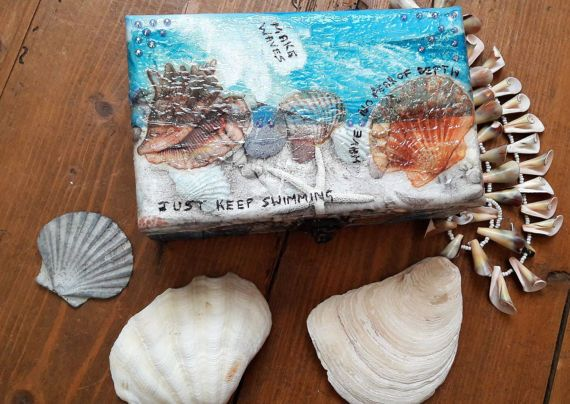 Mermaid jewelry box Hygge upcycled jewelry organizer sea themed