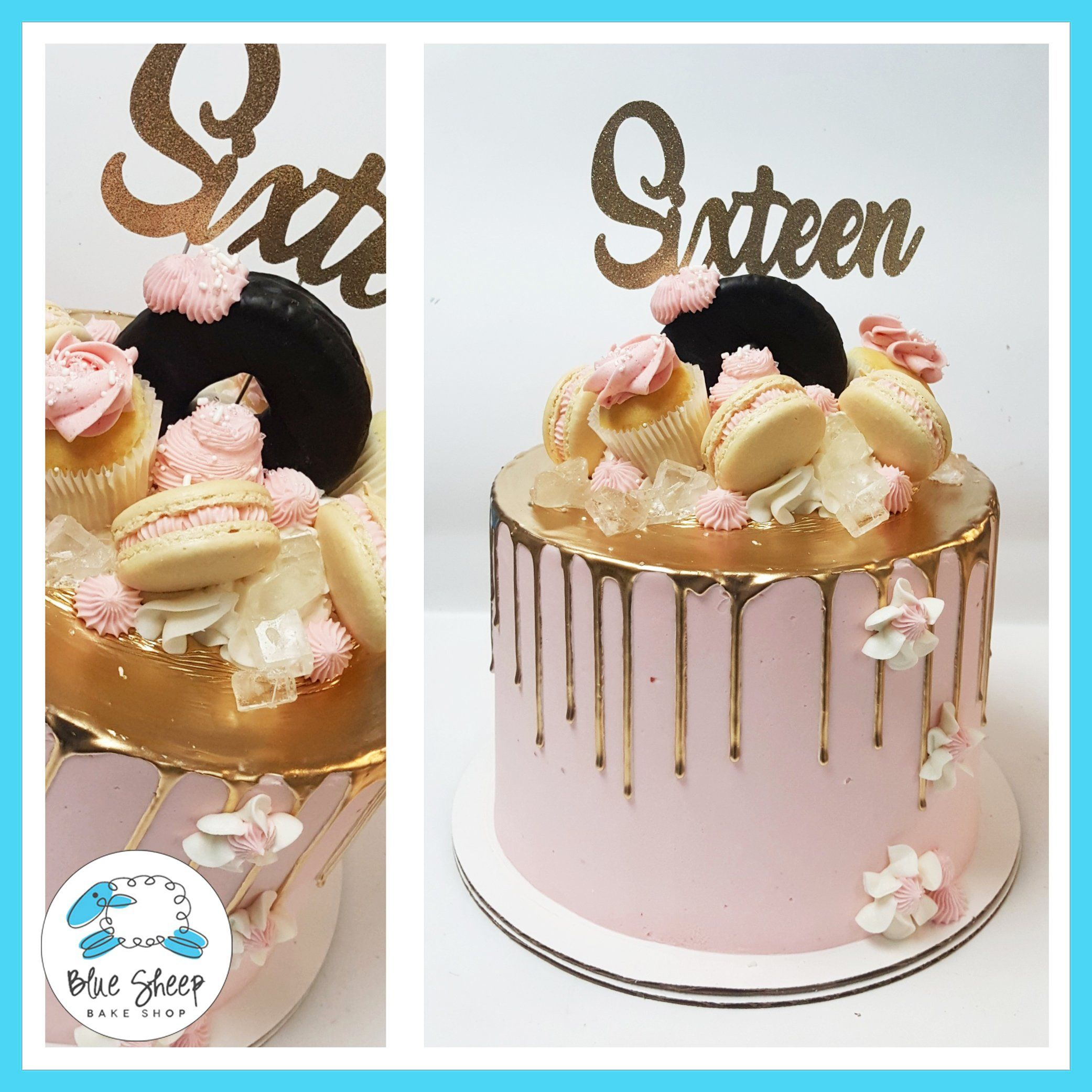 Pink And Gold Sweet 16 Drip Cake In 2020 Drip Cakes Sweet 16