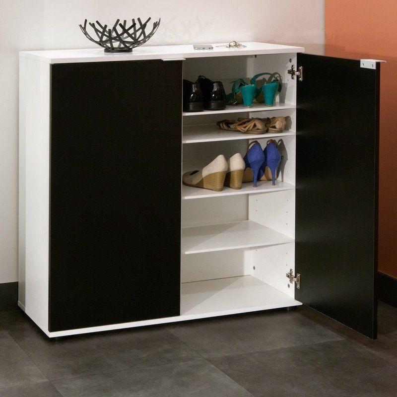 à chaussures CLASS design blanche 2 portes noires - meuble a chaussures grande capacite