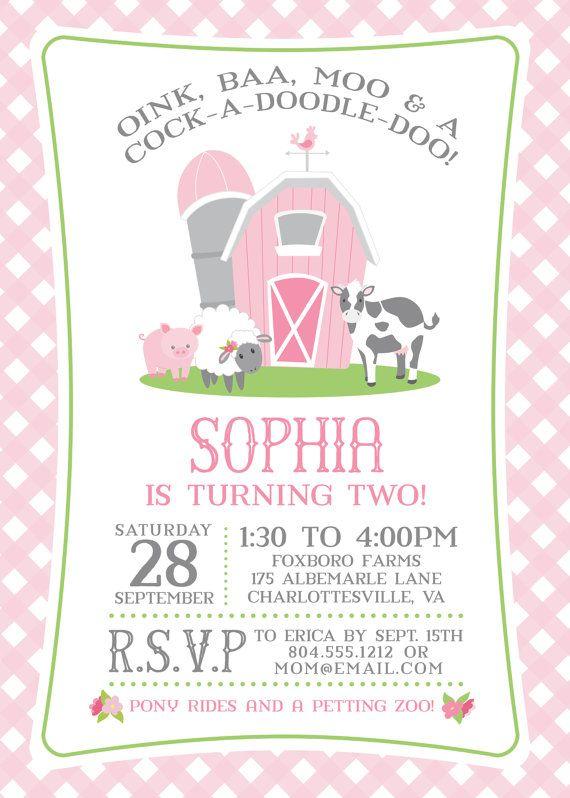 pink farm birthday invitation for a