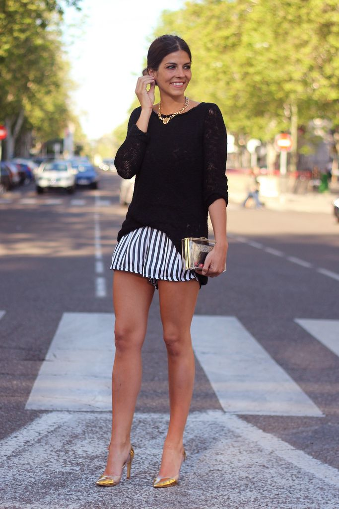 Black and white striped shorts. Black blouse. Summer outfit ...