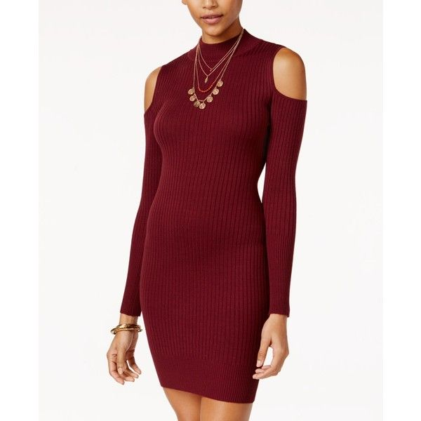 Say What Juniors Rib Knit Cold Shoulder Bodycon Dress 44 Liked On Polyvore Featuring Dresses Zinfandel Red Body Con Cutout