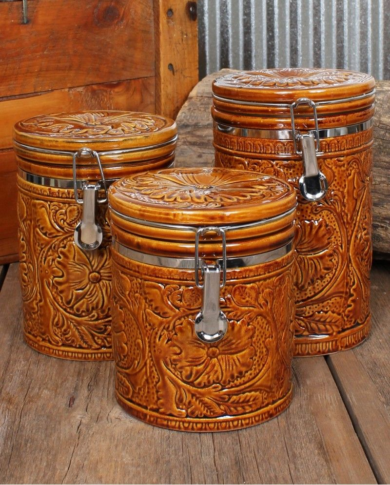 Cowboy Kitchen: Tooled 3 Piece Canister Set