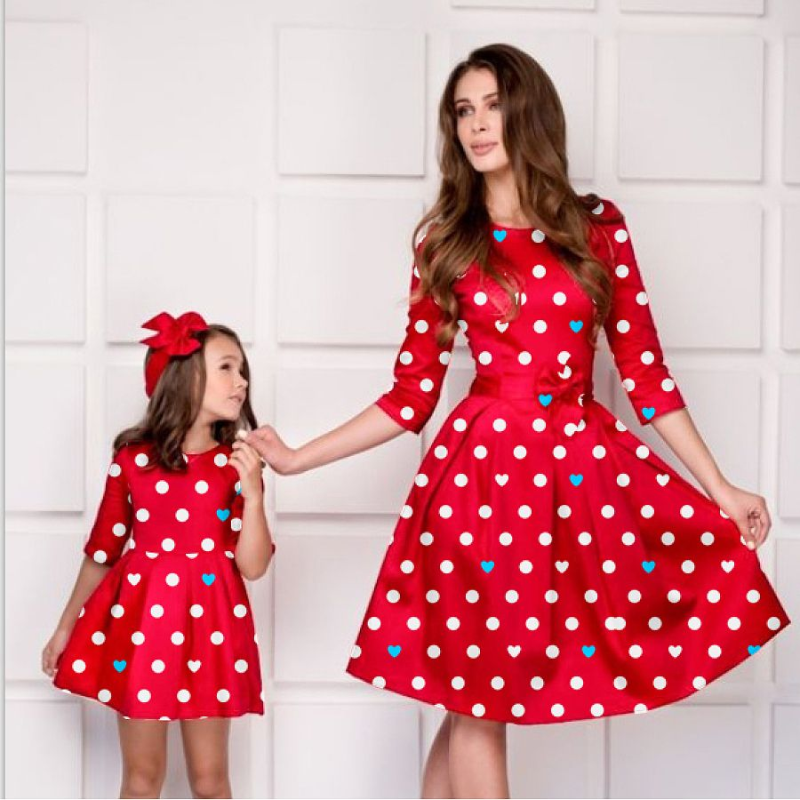 9fecd287 Mom Girl Solid Color Bowknot Decorate Matching Dress | shop Now | Fashion,  Mother daughter matching outfits, Mom dress