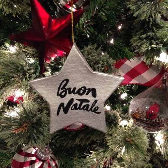 Buon Natale Ornament.Buon Natale Joyeux Noel 4 Flat Star Paper Mache Christmas
