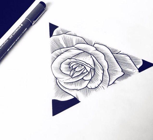 Rose Et Triangle Tattoo Tattoos Tattoo Drawings