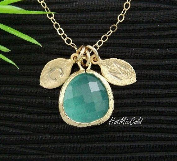 Personalized Opal Blue Gold bezel Necklace
