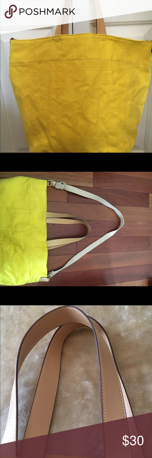 Gap beach bag New with tag bright yellow canvas with leather straps with extra strap inside to wear as a shoulder bag it's adjustable zippered pocket inside lined interior perfect condition just a few wrinkles from being in closet . Gap Bags Totes
