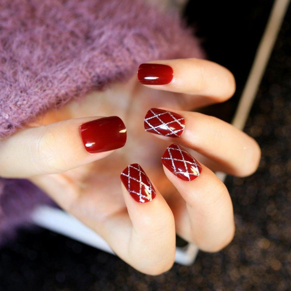 3Sets nails Wine Red Bling Fake Nails Sliver Lines French False Nail ...