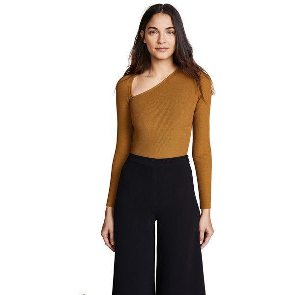 67d293b7a61e7 Cushnie Et Ochs Vivian Long Sleeve Asymmetrical Bodysuit (£520) ❤ liked on  Polyvore featuring intimates