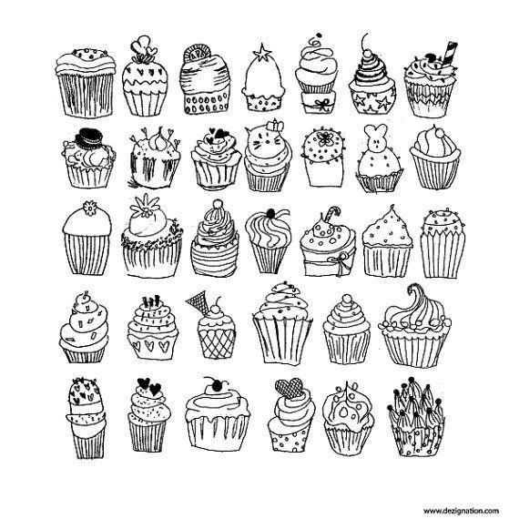 Cupcakes Vector Pdf Freehand Drawing Illustration By Dezignation Tatuajes Mandalas Dibujos Fáciles Dibujos Para Colorear