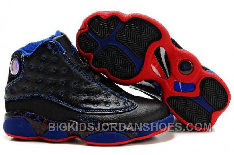 http://www.bigkidsjordanshoes.com/new-kids-air-jordan-13-black-red-blue-lettering.html NEW KIDS AIR JORDAN 13 BLACK RED BLUE LETTERING Only $75.54 , Free Shipping!