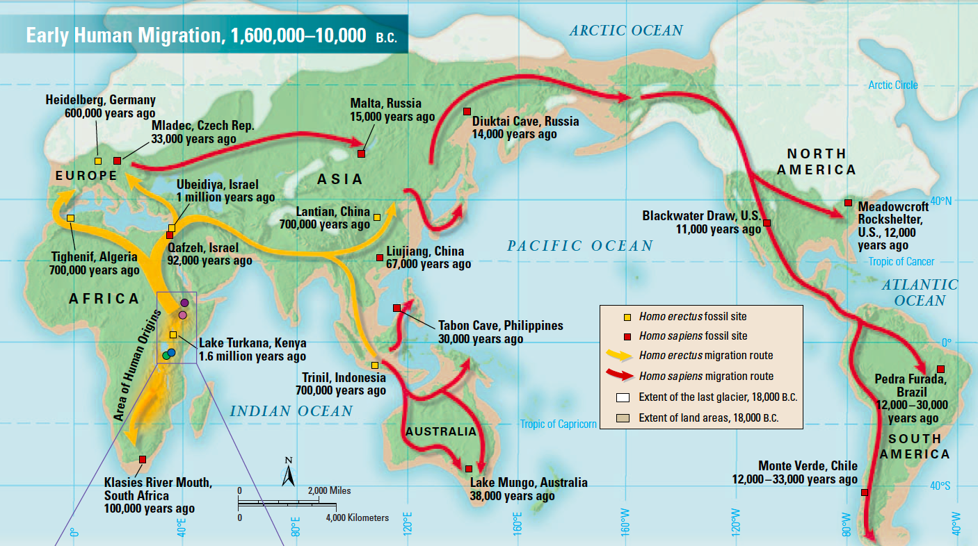 Early Human Migration Map