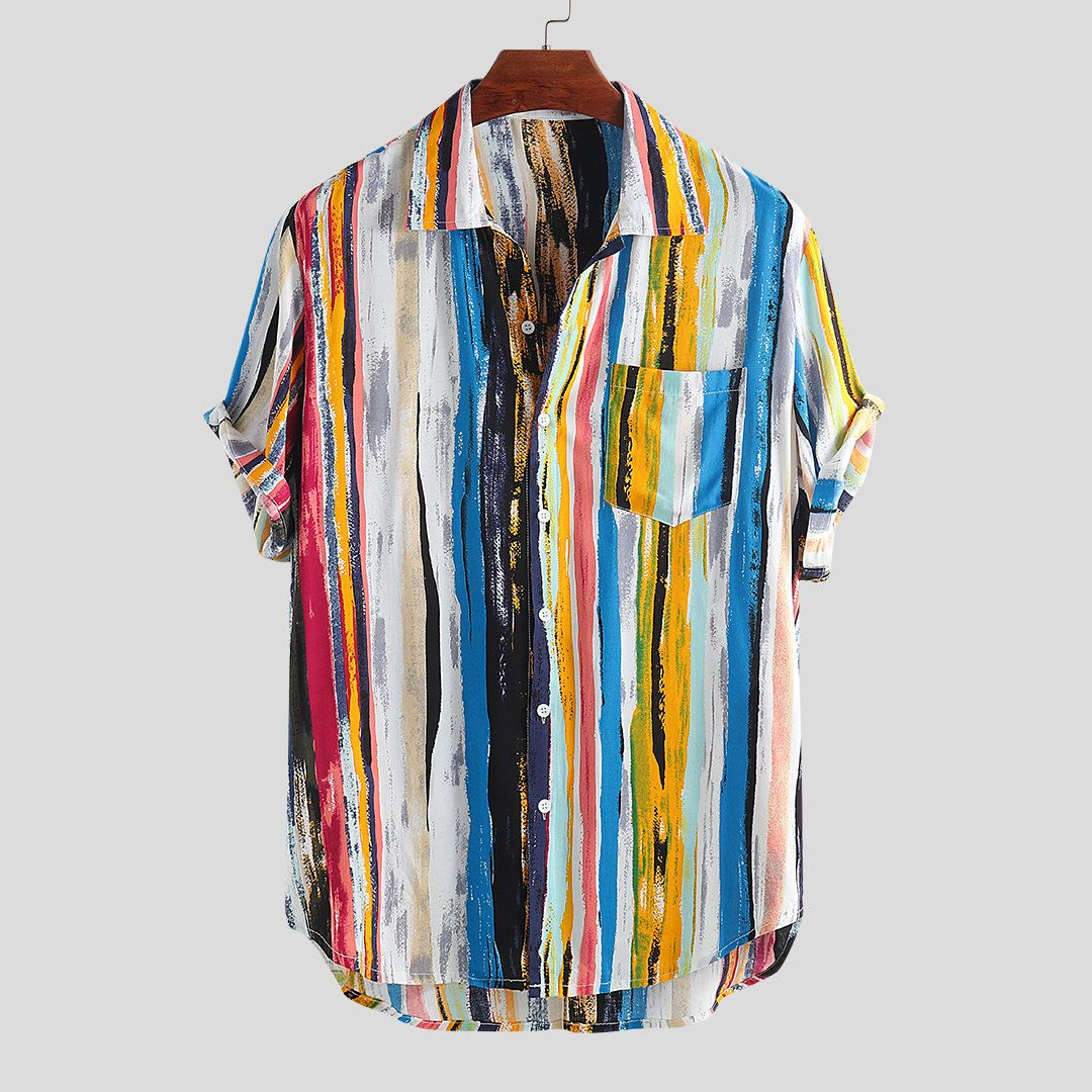 01ad7859 ChArmkpR Mens Ethnic Style Printed Stripe Stand Collar Short Sleeve Loose  Henley Shirts Best Online -