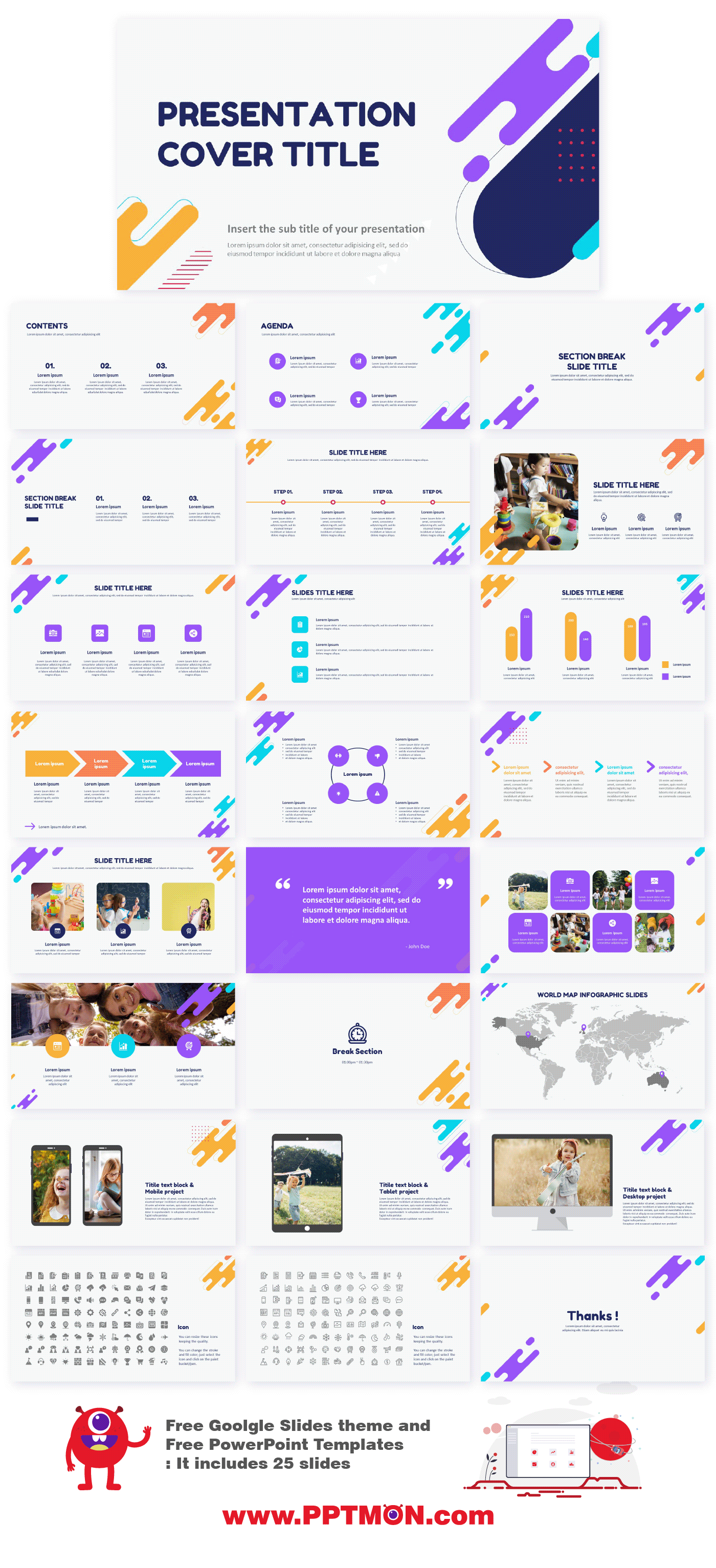 Flat Free Power Point Template Google Slides Theme On Behance In 2020 Presentation Template Free Powerpoint Template Free Powerpoint Templates