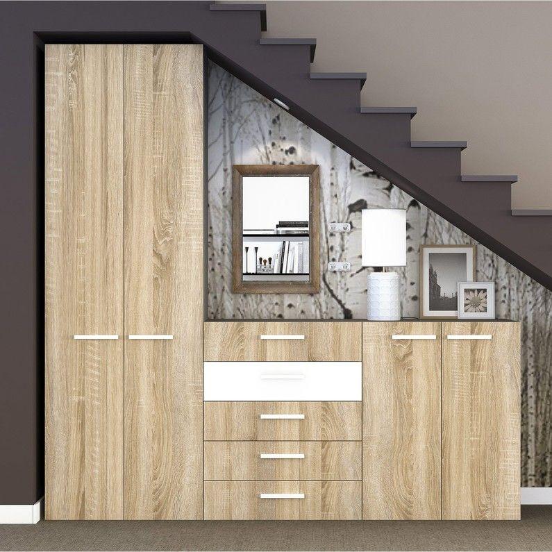 Rangement Decoratif Spaceo Home Effet Chene Rangement Decoratif Amenagement Escalier Amenagement Sous Escalier
