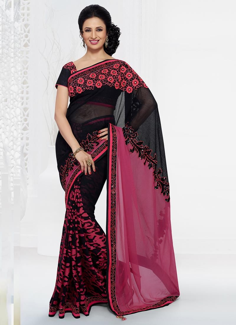 Buy party wear saree online for women. Grab this cotton   embroidered and patch border work designer saree for festival and party.
