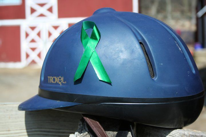 Put A Green Ribbon On Your Helmet To Show Your Support Start A Trend Tell Your Friends Equestrian Helmets Riding Helmets Horse Saddles