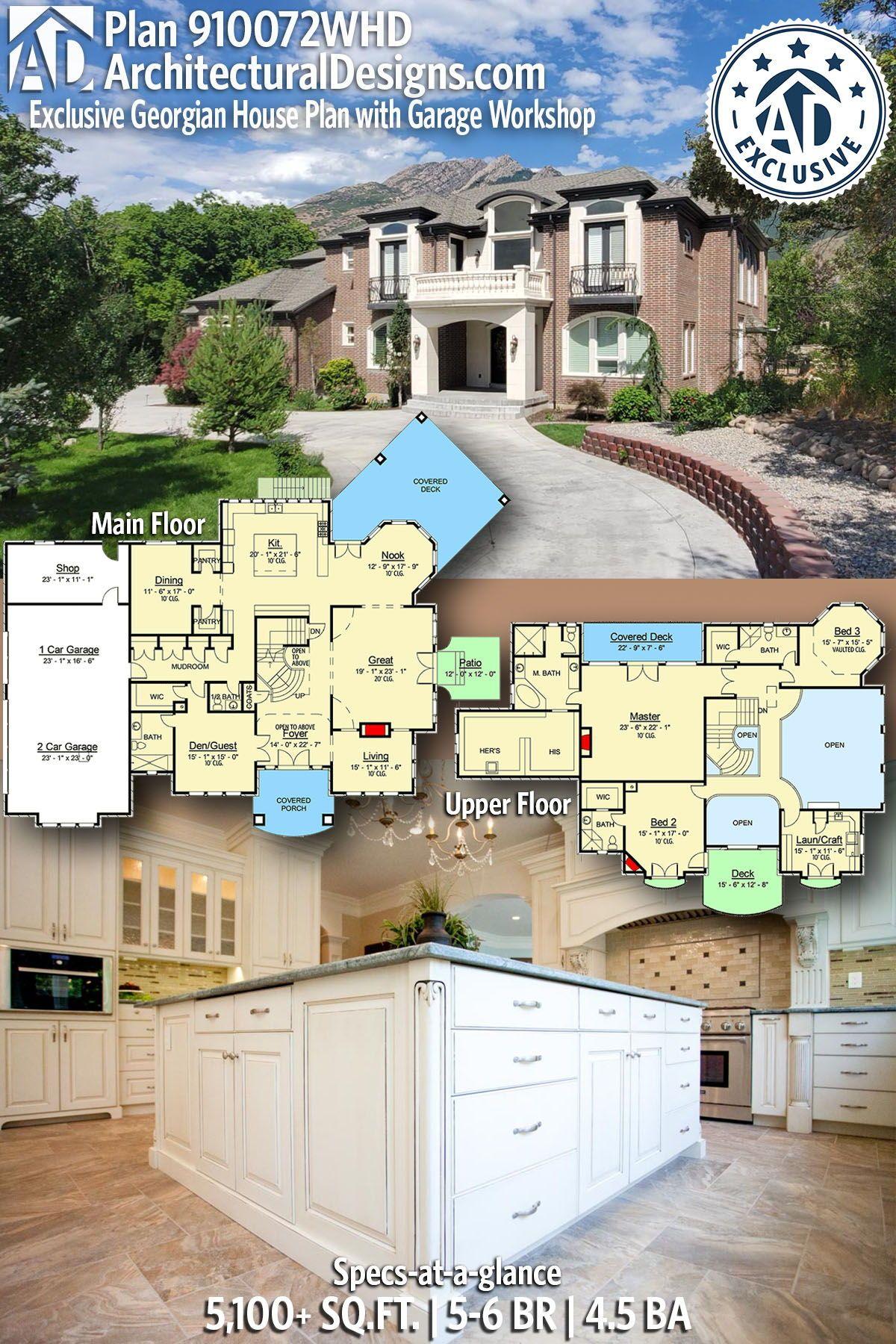 Plan 910072whd Exclusive Georgian House Plan With Garage Workshop In 2020 Garage House Plans Exclusive House Plan Georgian Homes