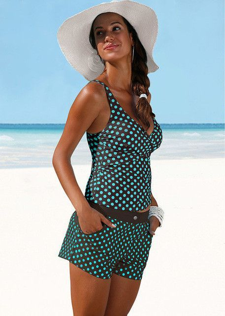 5c603b7bb2443 Sexy Womens Padded Two Piece Pattern Dot Large Tankini Halter Crop Top Hang  High neck Swimsuit Plus Size Beach Bathing Suit XXL -04101