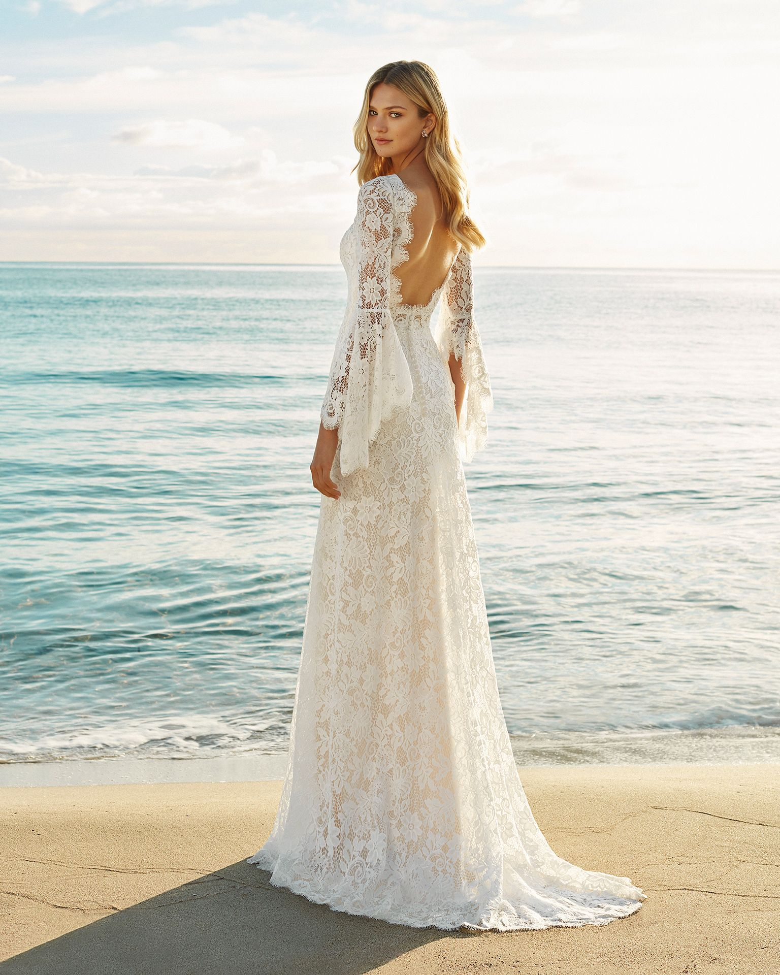 Open Back Bohemian Lace Wedding Dress with Bell Sleeves Custom Size 0 2 4 6 8 10