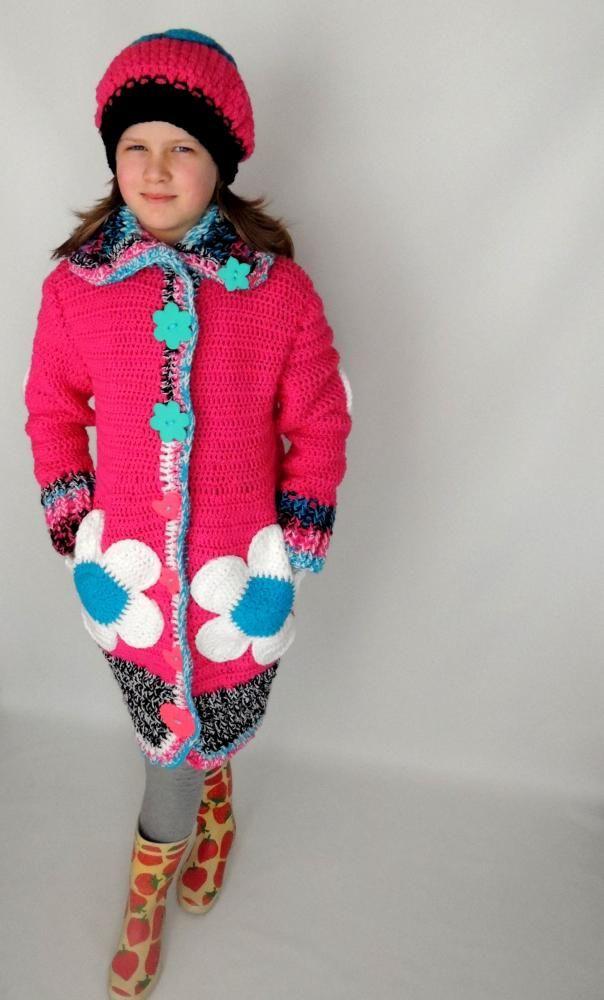 Malinový kvetinkový svetrokabátik a baretka