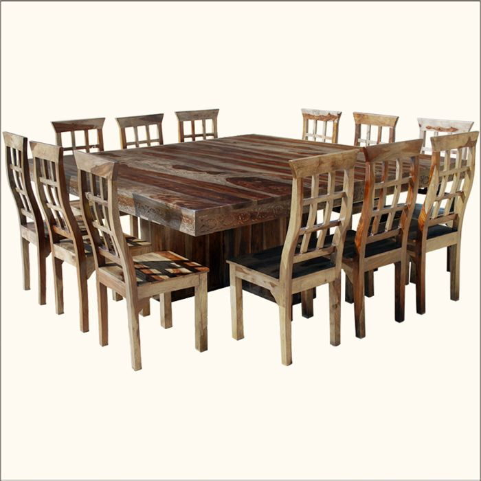 Dallas Ranch Pc Square Pedestal Large Dining Table Chair Set - Dinner table for 12