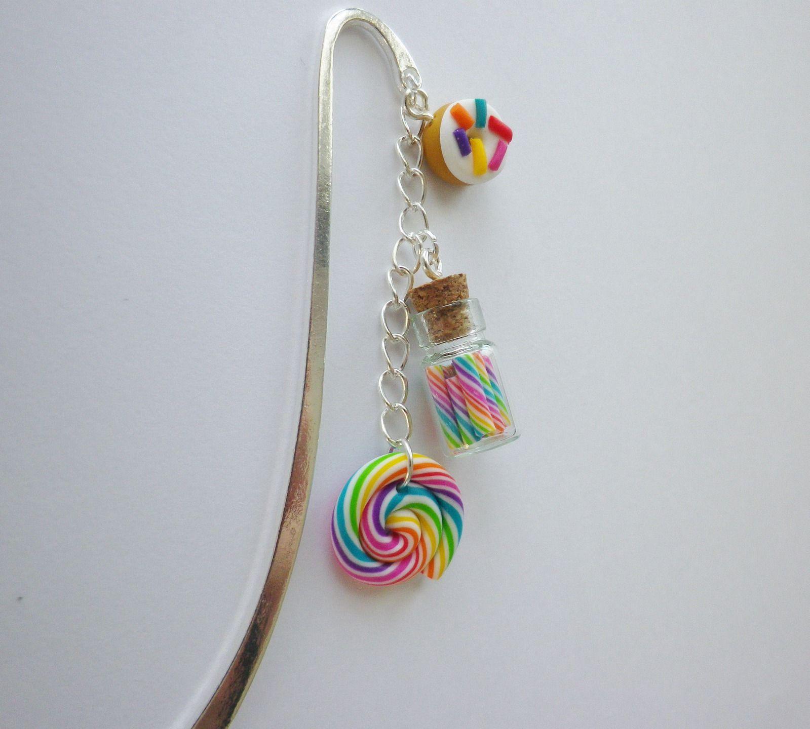 marque pages sucette lolipop fiole sucre d orge multicolore cadeau unique : Marque-pages par fimo-relie