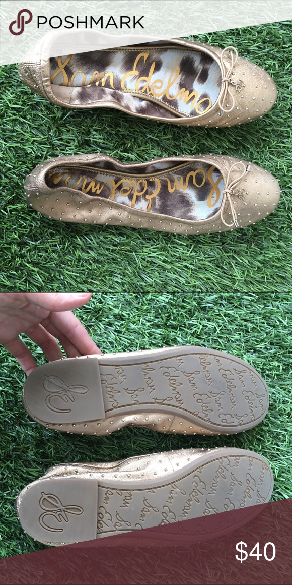 Sam Edelman - 'Frankie' studded flats in gold Completely unworn 'Frankie' studded flats, absolutely no wear. Genuine leather with studs all over. Sam Edelman Shoes Flats & Loafers