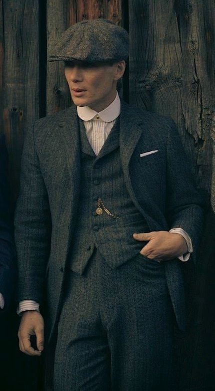 Peaky Blinders – Tommy s Gray Striped Herringbone Suit   BAMF Style ... 4c580f25b1