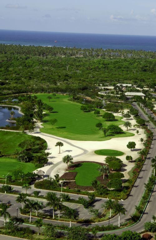 Hole 1 at Cocotal Golf   Country Club in Punta Cana  27 hole golf     Hole 1 at Cocotal Golf   Country Club in Punta Cana  27 hole golf course  that belongs to the Melia   Paradisus Resorts