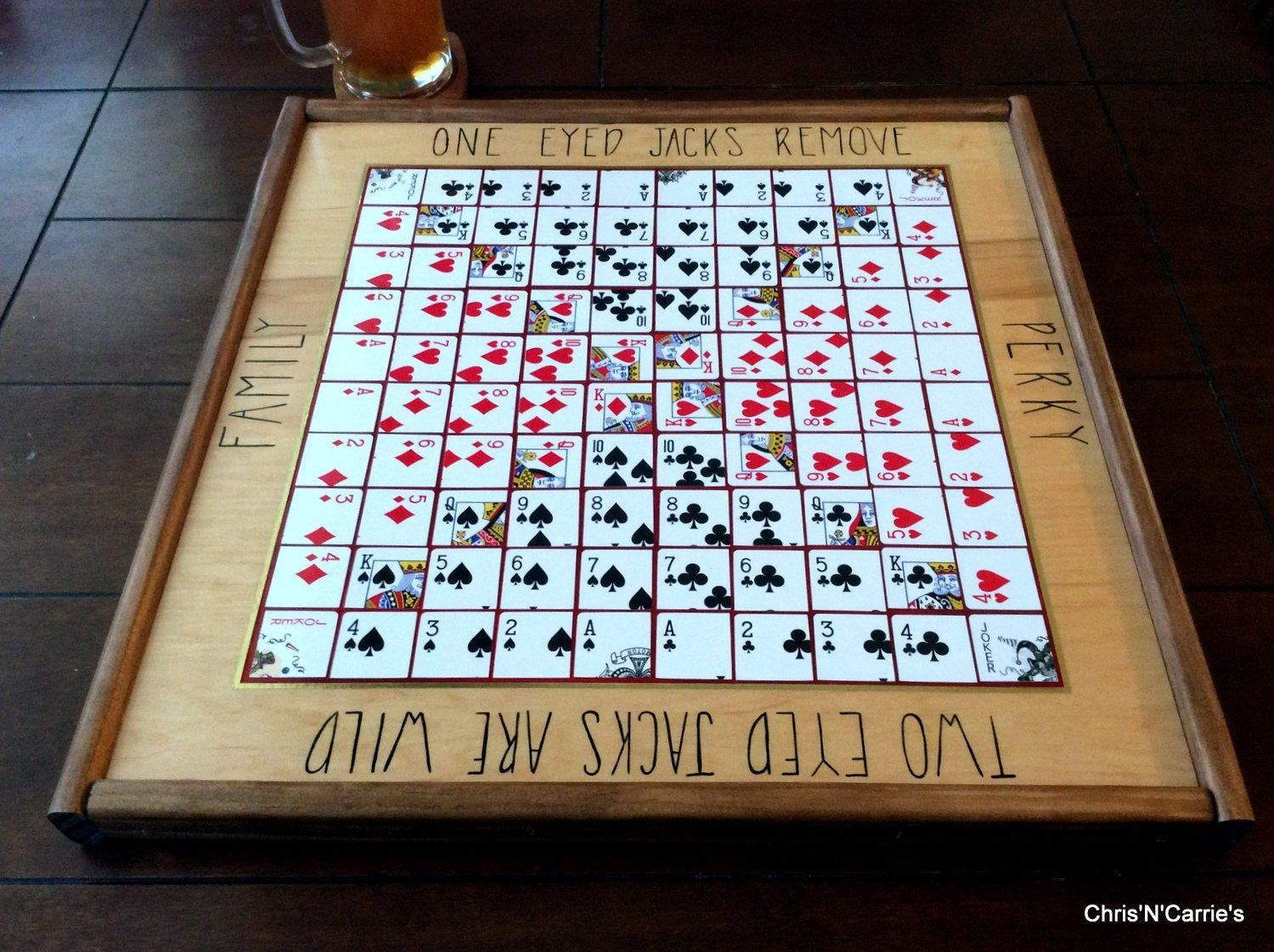5 in a row custom epoxy One Eyed Jack Board Game multi player hand made