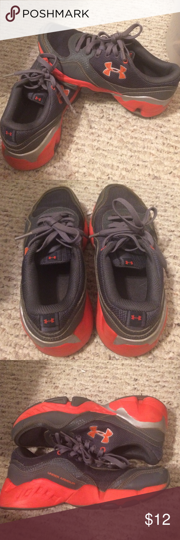 Under Armour Y-2 running shoes gray/orange Boys Youth Sz. 2 Under Armour running/tennis shoes- these have been worn but are still in good used condition. Under Armour Shoes Sneakers