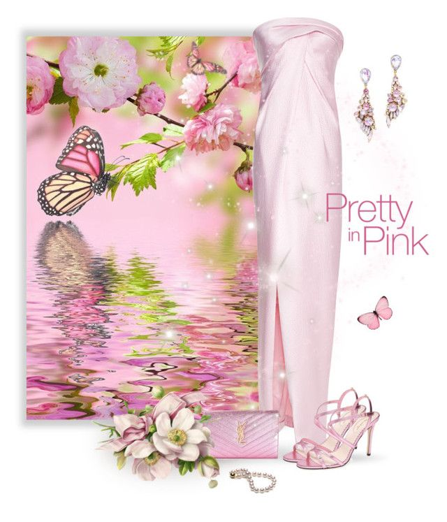 """""""~Pretty in Pink~"""" by justwanderingon ❤ liked on Polyvore featuring J. Mendel, SJP, Yves Saint Laurent, Pixie and Erickson Beamon"""