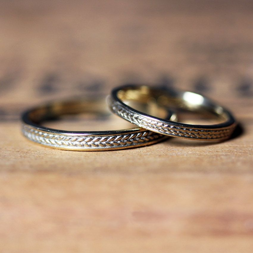 Gold Braided Ring Wedding Band Set Wheat Recycled 14k His And Her Custom