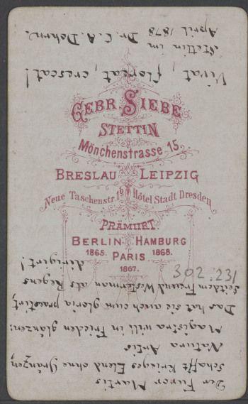Dohrn, C.A. aus Stettin Rückseite
