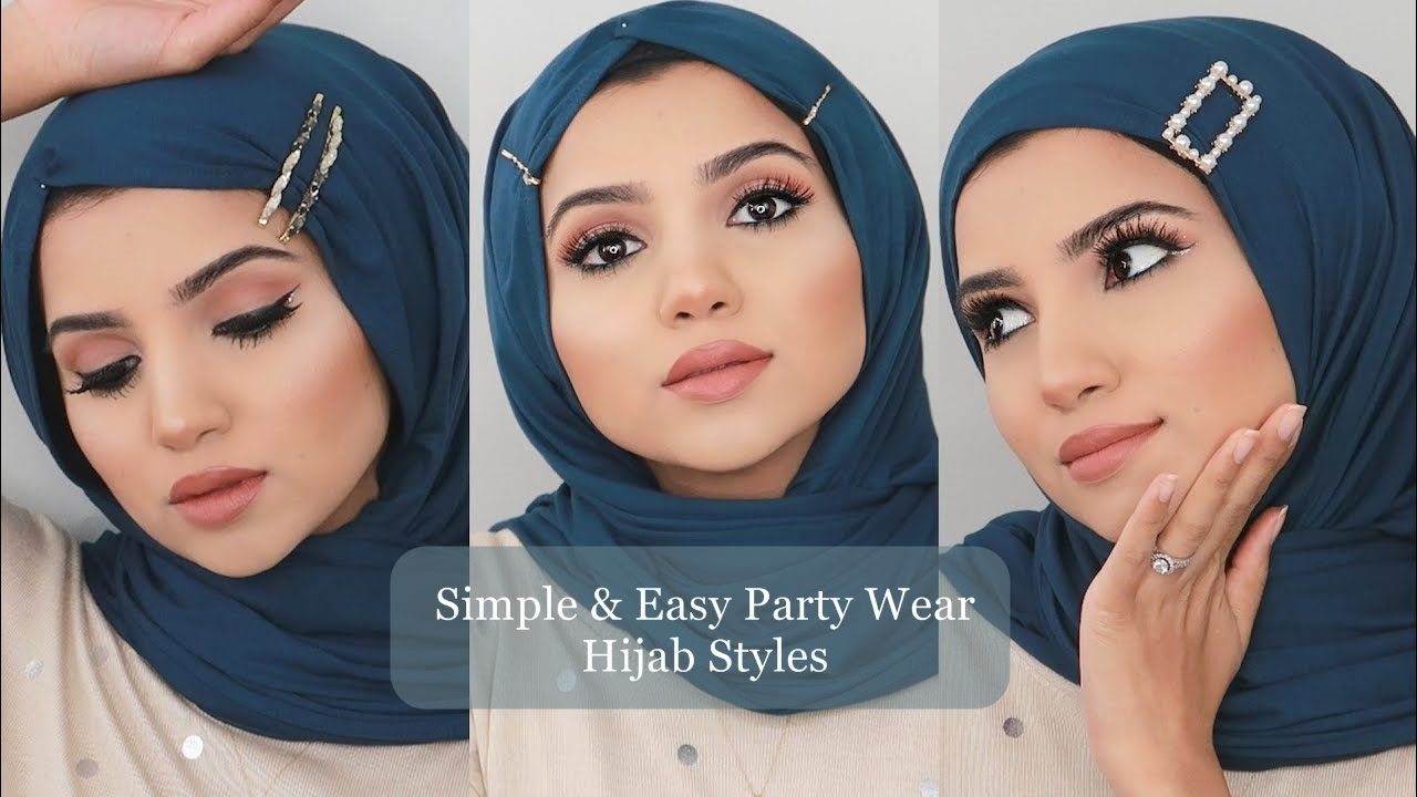 Easy Party Wear Hijab Tutorials Using Hair Clips Hijab Fashion Inspiration In 2020 Hijab Tutorial How To Wear Hijab Hijab Fashion Inspiration