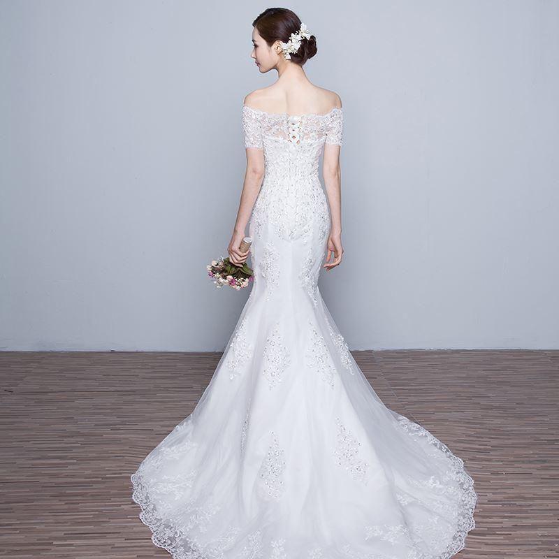 Simple And Elegant Wedding Dresses Boat Neck Three Quarter: Wedding Dresses Mermaid With Train Elegant Sequined Lace