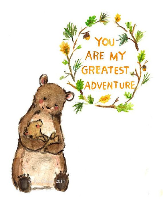 Woodland Nursery Art — My Greatest Adventure Bear — Giclée Print