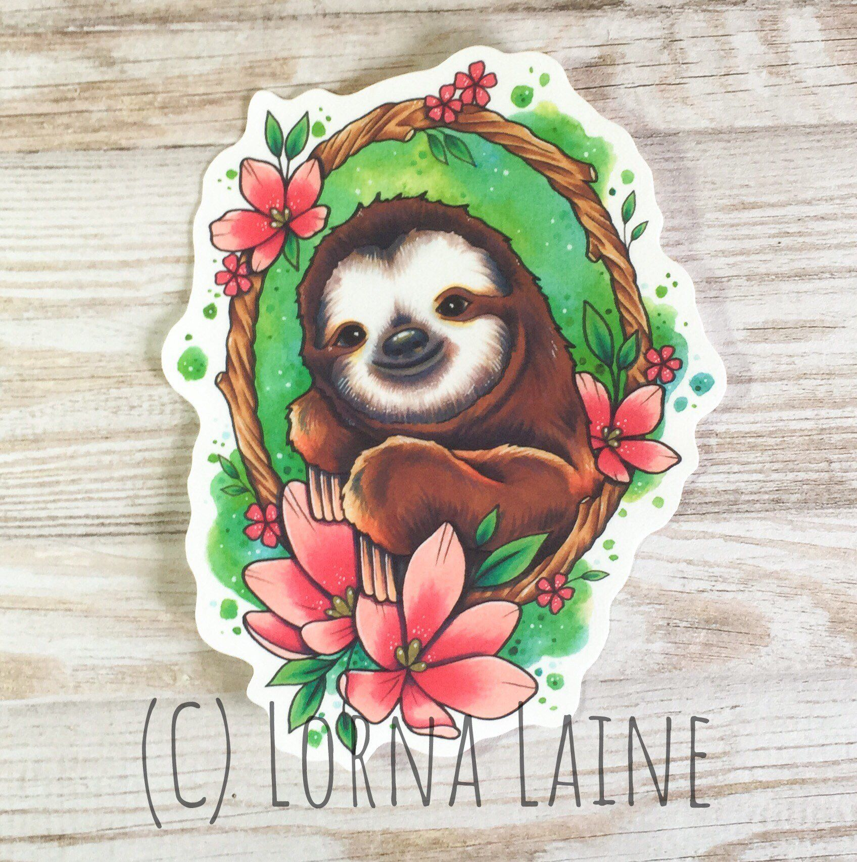 Sloth vinyl sticker laptop sticker tattoo sticker Etsy