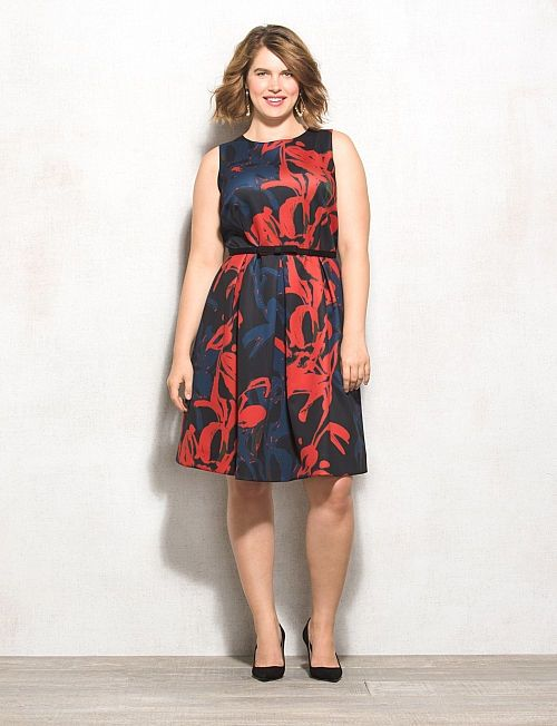 db7ab33302 Plus Size Belted Floral Fit-and-Flare Dress